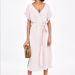 Zara striped midi dress